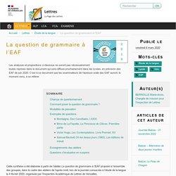 La question de grammaire à l'EAF - Lettres