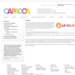 Mentorat - La Relève - Association canadienne des organismes artistiques (CAPACOA)