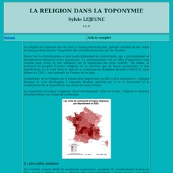 Toponymie : La religion