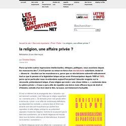 La religion, une affaire privée
