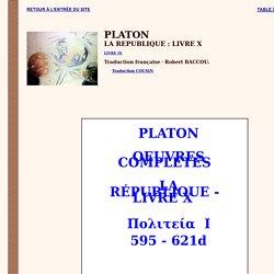 Platon : La République - livre X (Essence>Ouvrage>Imitation)