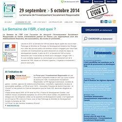 La Semaine de L'ISR, c'est quoi ? - Semaine ISR, du 11 au 20 octobre 2012