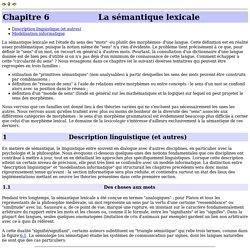 La sémantique lexicale