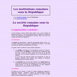 Les Institutions romaines sous la République (M. Tillard)