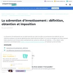La subvention d'investissement