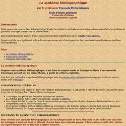 La synthèse bibliographique