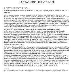 LA TRADICIÓN, FUENTE DE FE