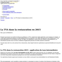 La TVA dans la restauration en 2015