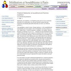 Friedrich Nietzsche, le bouddhisme et l'homme supérieur