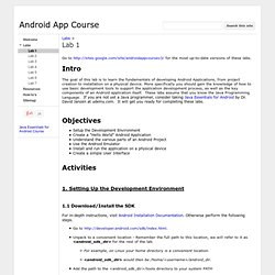 Lab 1 - Android App Course