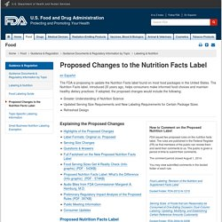 Labeling & Nutrition > Proposed Changes to the Nutrition Facts Label