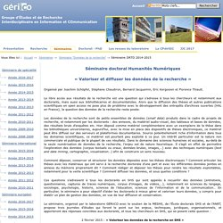 Laboratoire Geriico - Séminaire DRTD 2014-2015