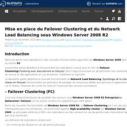 Mise en place du Failover Clustering et du Network Load Balancing sous Windows Server 2008 R2