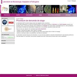 Laboratoire de Microbiologie, Adaptation et Pathogénie - Procédure de demande de stage