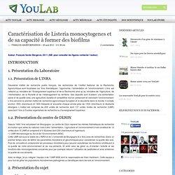 YOULAB 29/08/12 Caractérisation de Listeria monocytogenes et de sa capacité à former des biofilms