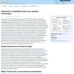 Présenter l'e-portfolio dans les actions d'insertion