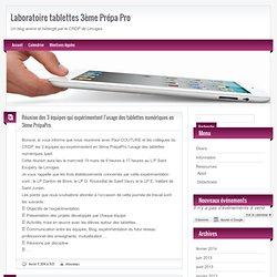 Laboratoire tablettes 3ème Prépa Pro