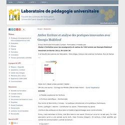 Laboratoire de pédagogie universitaire » Atelier Ecriture et analyse des pratiques innovantes avec Georgia Makhlouf