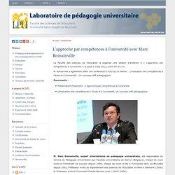 Laboratoire de pédagogie universitaire » L'approche par compétences à l'université avec Marc Romainville