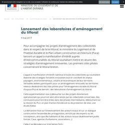 Lancement des laboratoires d'aménagement du littoral - Ministère du Logement et de l'Habitat durable