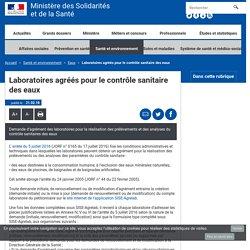 SOLIDARITES-SANTE.gouv_FR 21/02/18 Laboratoires agréés pour le contrôle sanitaire des eaux