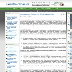 Laboratorio Formazione - Autovalutazione d'istituto: tratti distintivi e parole chiave
