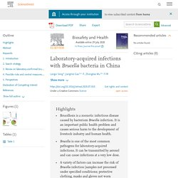 Biosafety and Health Available online 29 July 2020 Laboratory-acquired infections with Brucella bacteria in China