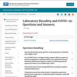 CDC 19/03/19 Laboratory Biosafety and COVID-19: Questions and Answers