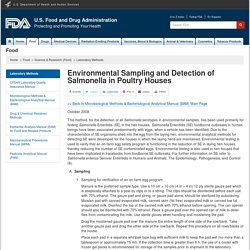 FDA MAI 2009 Environmental Sampling and Detection of Salmonella in Poultry Houses