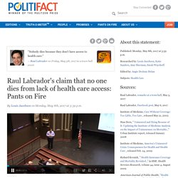 Raul Labrador's claim that no one dies from lack of health care access: Pants on Fire