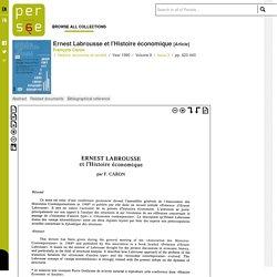 Ernest Labrousse et l'Histoire économique