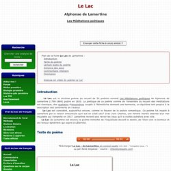 Le Lac - Alphonse de Lamartine - Analyse