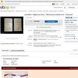 """Lacordaire L'Eglise LES Vertus 1902 Lectures Choisies I III """"Minuscule"""""""