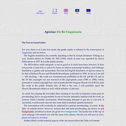 Apicius — De Re Coquinaria