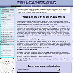 Word Ladder Puzzle With Clues - Free Printable Worksheets