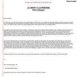 Lafargue - Le Droit à la Paresse