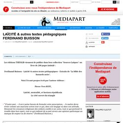 LAÏCITÉ & autres textes pédagogiques FERDINAND BUISSON