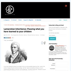 Lamarckian Inheritance: Passing what you have learned to your children