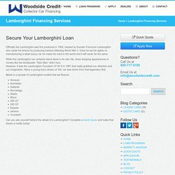 Finance Lamborghini Car with Woodside Credit