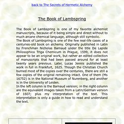 The Book of Lambspring, text an Interpretation of this Alchemical manuscript
