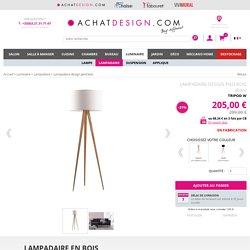 Lampadaire design pied bois Blanc TRIPOD W