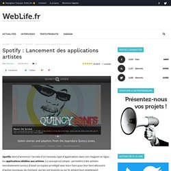 Spotify : Lancement des applications artistes