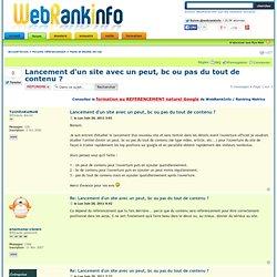 Lancement d'un site avec un peut, bc ou pas du tout de contenu ? : Tests et études de cas
