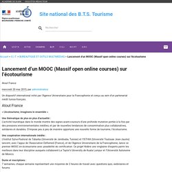 Lancement d'un MOOC (Massif open online courses) sur l'écotourisme