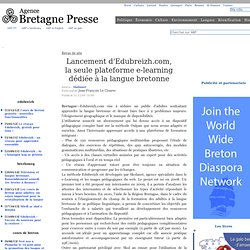 Lancement d'Edubreizh.com, la seule plateforme e-learning dédiée à la langue bretonne