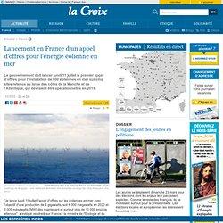 Lancement en France d'un appel d'offre pour l'énergie éolienne en mer