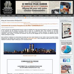 """Lancement de la version française du site Web """"CONSENSUS 9/11"""""""