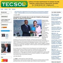 Lancement de 19 projets dans le cadre de l'Initiative africaine pour les EnR : le solaire en bonne place