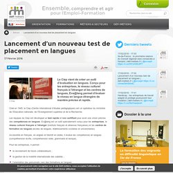 Lancement d'un nouveau test de placement en langues