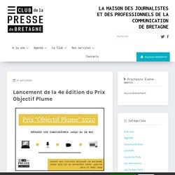 Lancement de la 4e édition du Prix Objectif Plume - Club de la Presse de Bretagne